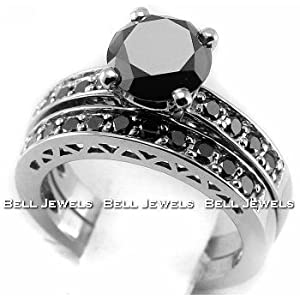 Click to buy Matching Fancy Black Diamond Wedding Ring Set in 14K White Gold from Amazon!