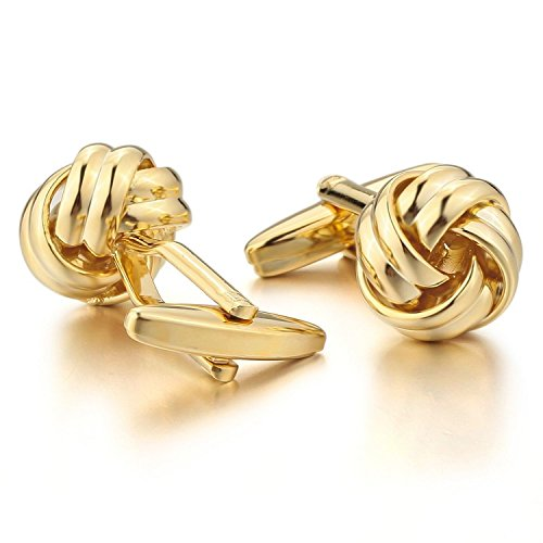 Knot-Gold-Plated-Men-Unisex-Wedding-Gift-Wedding-Business-Cufflink-1-Pair-2pcs