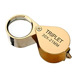 BABAN Jewelers Loupe Magnifier 30X21mm Metal Case Golden