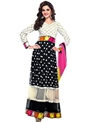 Zohraa Monika Bedi Suit-Black And Off White Faux Georgette Anarkali Suit Touch4008