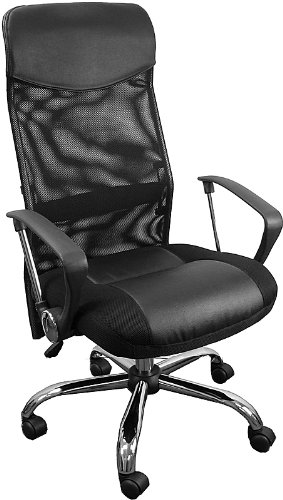 High Back Black Split Leather Chair  Mesh Back 