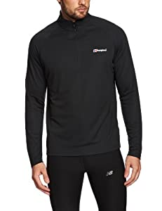 Berghaus Men's Essential Long Sleeve Zip Baselayer - Black, Small