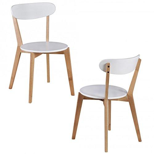 FineBuy-2er-Set-Esszimmersthle-MDF-Wei-Design-Holz-Sthle-retro-Kchensthle-skandinavisch-Esssthle-Sitzmbel-Retrostyle-elegant-Stuhlset-nordisch-Kchenmbel-Holzbeine-Designerstuhl-zweifarbig
