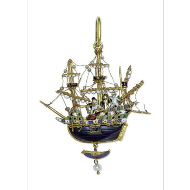 Ship Pendant - Treasures of the Royal Courts Exhibition Postcard