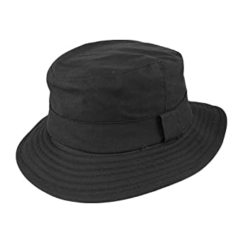 Jaxon Hats Oilcloth Bucket Hat Black Medium: Amazon.co.uk ...