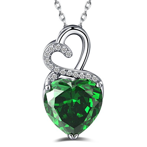 Caperci Sterling Silver Heart Shape Created Emerald Pendant Necklace - Christmas Gifts for Women