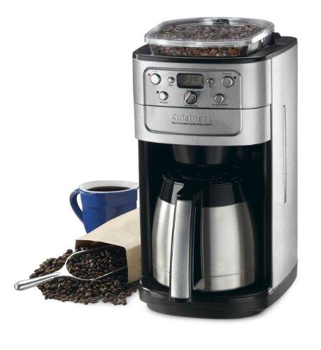 クイジナートコーヒーメーカー 魔法瓶&豆挽付(ミル)12カップ用 タイマー付 Cuisinart DGB-900BC Grind-and-Brew Thermal 12-Cup Automatic Coffeemaker, Brushed Chrome/Black