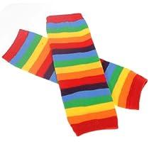 Cotton Toddler Kids Infant Baby Leggings Knee Leg Warmers Socks Socking,Rainbow stripe