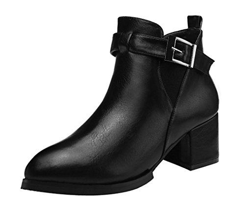 Guciheaven Women Winter New Style Rough Heels Buckle Short Boots(8.5 B(M)Us, Black)