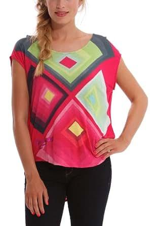 Desigual - dime - t-shirt - imprimé - femme - rouge (virtual pink) - s