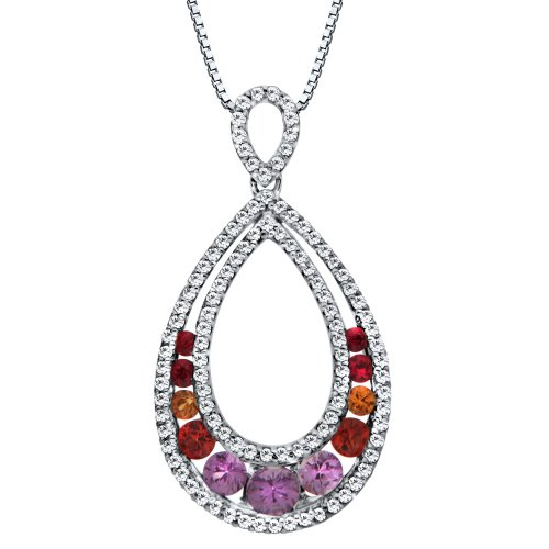10k White Gold Multi-Colored Sapphire and Diamond Pendant Necklace, 18