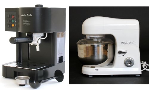 PACKAGE DEAL Kitchen Powerful food MIXER 5L in White, Most POWERFUL 1200W - with SPLASH GUARD + Charles Jacobs 15 Bar Pump COFFEE - ESPRESSO Italian Style MACHINE in Black by Charles Jacobs