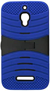 Eagle Cell Alcatel One Touch Fierce Hybrid Skin Case with Stand - Retail Packaging - Blue/Black