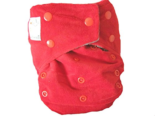 "Kawaii Baby Bamboo Charcoal One Size Pocket Cloth Diaper with 2 Four Layers Inserts "" Tomato Red "" - 1"