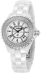 Dasone D0015 Women's Quartz Ceramic Watches 2 Rows Diamond Bezel Ladies Ceramic Watch with Calendar Function