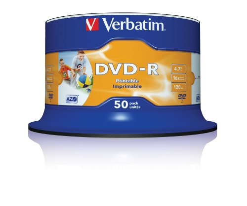 Verbatim  DVD-R 16x Speed 4,7GB Printable, confezione da 50