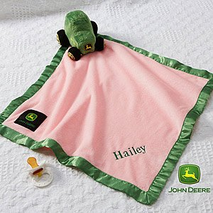 Personalized John Deere Pink Baby Blanket - Baby Girl Name front-986838
