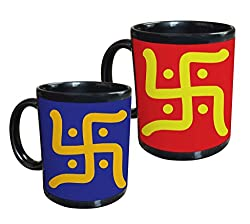 Tiedribbons - Gifts For Diwali Swastik Set of 2 Black Coffee Mug(350 ML)