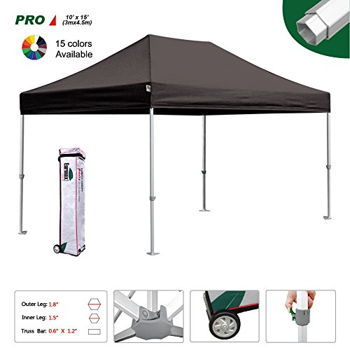 Eurmax Professional 10 x 15 Pop Up Canopy Wedding PartyTent Instant Outdoor Gazebo Pavilion Canopy BBQ Cater Events Aluminum frame Commercial grade Bonus Roller bag (Black)