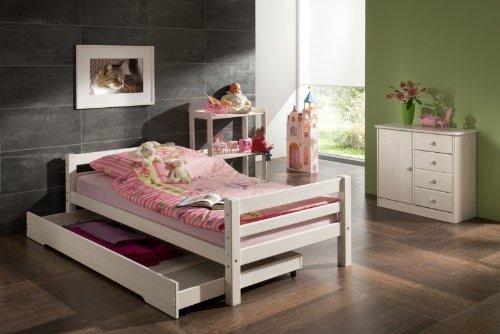 Lit simple lit enfant MAX 90 x 200 cm pin massif lasuré blanc