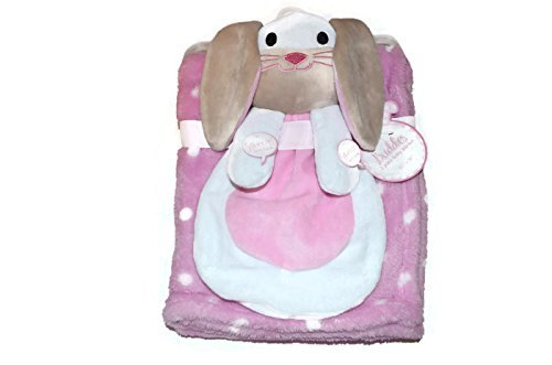 Buddies 2 Piece Baby Blanket-White Bunny With Pink and White Polka-Dot Blanket