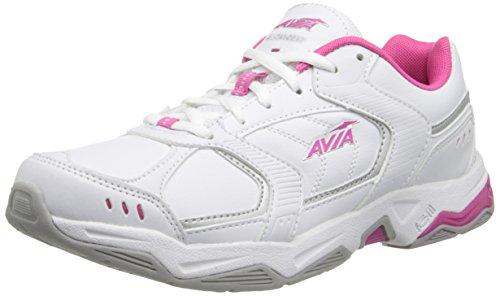 AVIA Women's Tangent Cross Training Shoe,White/Pink Scorch/Chrome Silver,9 D US