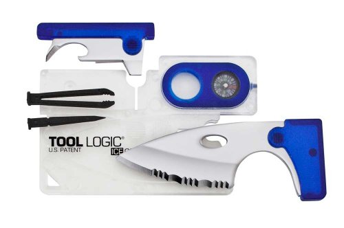Tool Logic ICC1B ICE Companion Card Tool with 2-Inch Serrated Blade Lens and Compass Translucent BlueB0001WOLQ6 : image