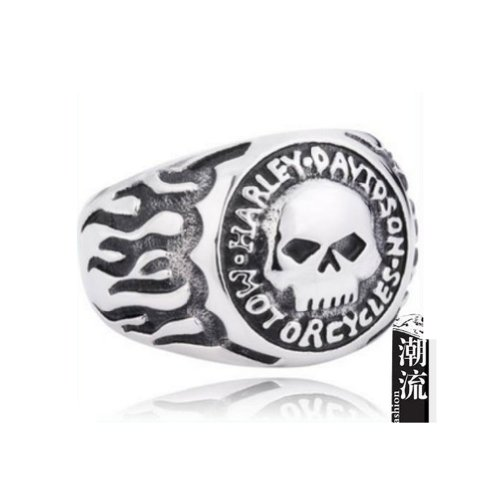 MINIBLUE Harley Personality Skull Ring 316 Medical Titanium Steel Rings Size 11 US