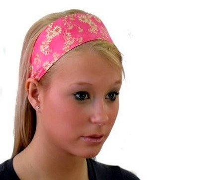 Gold Outlined Daisies Over Pink, Super Cute Wide Headband By Bargain Headbands