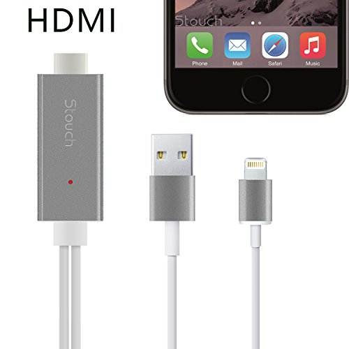 Lightning to HDMI Adapter, Stouch 6.4Ft Lightning MHL To HDMI Cable 1080P HDTV Adapter For iPhone 5 5S 6 6s plus Not Compatible iPad mini/air/pro - Black (Lightning Digital compare prices)