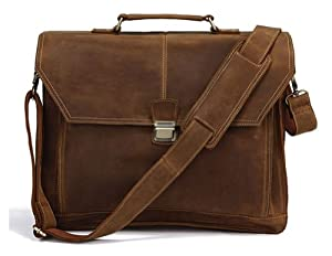 Kattee Leather Messenger Bag Brown