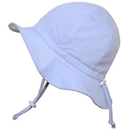 Baby 50+ UPF Sun Protection Hat, Size Adjustable Breathable With Chin Strap(S: 0 - 9m,Blue argyle)