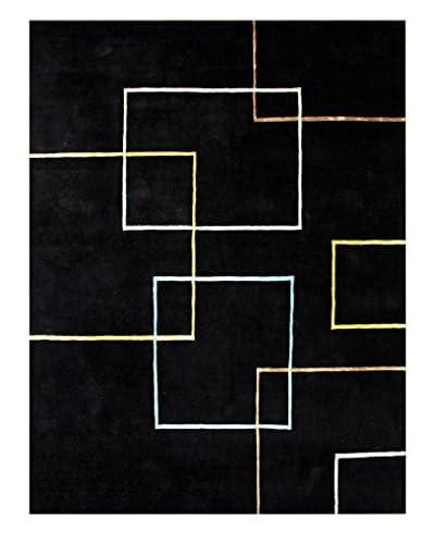 Fashion N You Handmade New Zealand Wool Rug, Black, 5' x 8'