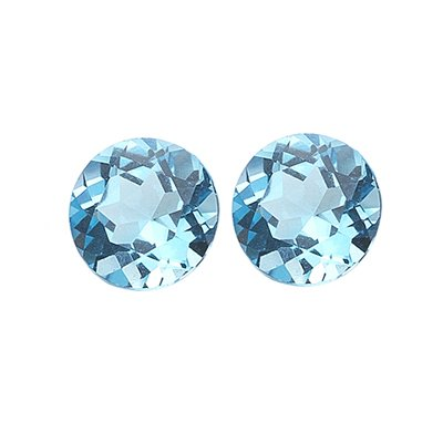 1.00 Ct of AAA 5 mm Round Matching Loose Swiss Blue Topaz ( 2 pcs set ) Gemstones