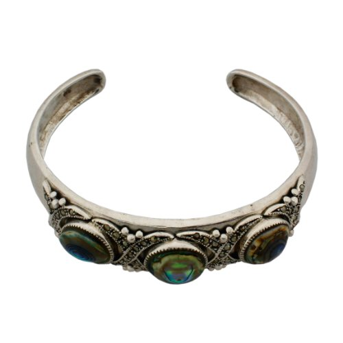 Sterling Silver, Marcasite and Abalone Shell Cuff Bracelet.