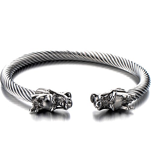 Elastic Adjustable Mens Dragon Bracelet Steel Twisted Cable Bangle Cuff Bracelet Silver Color Polished