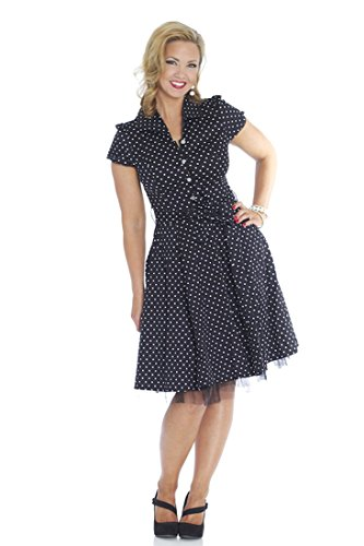 50S Vintage Retro Rockabilly Tea Party - Black W/ White Polka Dots -Bl839 Small