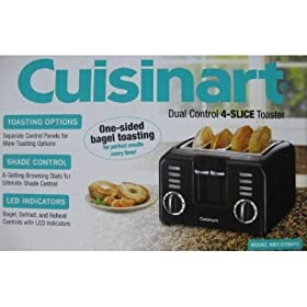 Cuisinart Dual Control 4 Slice Toaster One Side Bagel Toasting - Black