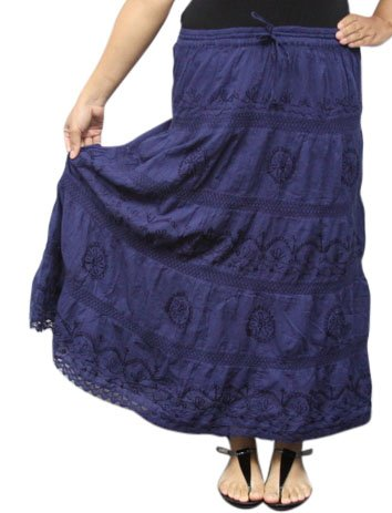 Peasant Bohemian Gypsy Skirt - Dark Blue