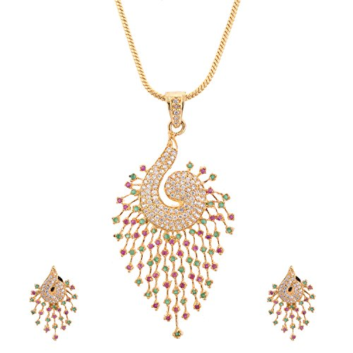 Alloy Daindiashop Alloy Metal Pink And Green Pendant Set For Women (Multicolor)