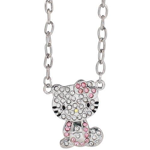 Hello Kitty rhinestone charm necklace   pink bow