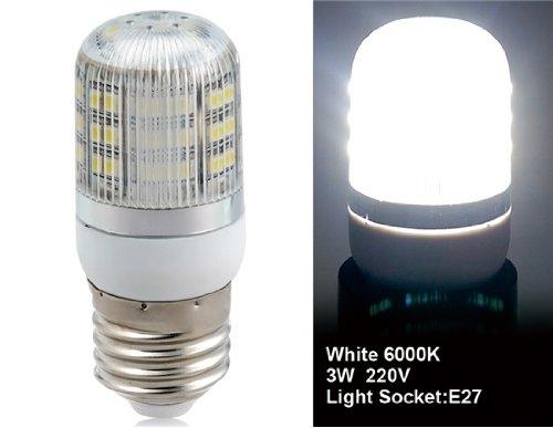 Wrui3528-48L-220V 3W E27 48 X 3528Smd White Led Corn Bulb With Cover