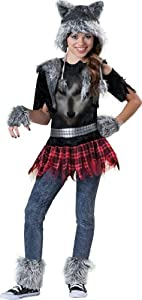 Tween Wear Wolf Costume, Grey/Black/Red, Large