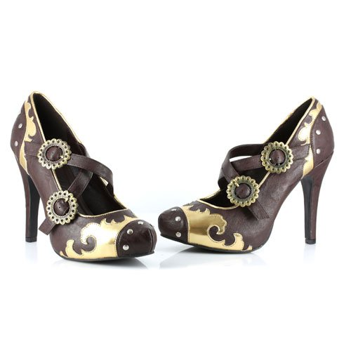Ellie Shoes Inc Women's Steampunk Brown Gold Gear Pumps Multicoloured Size 9
