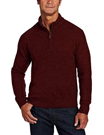 Pendleton Men's Shetland Zip Neck Sweater, Wine Mix, Medium