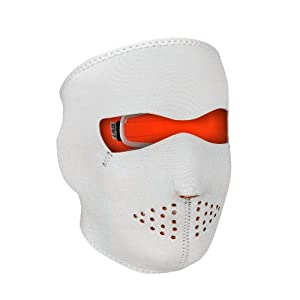 ZANheadgear Neoprene Reversible Full Face Mask (White/High-Vis Orange, One Size)