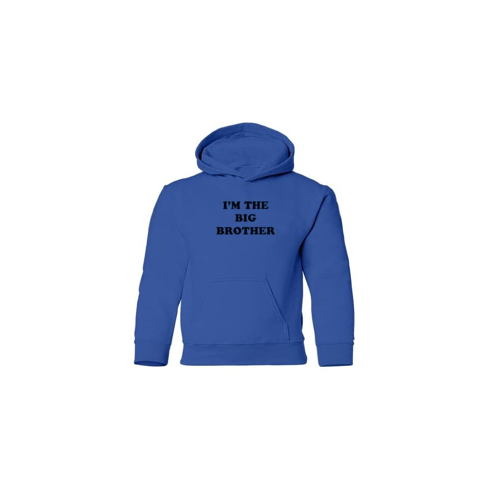 So Relative Big Boys Im The Big Brother (Black & Blue Print) Kids Hooded Sweatshirt (Royal Blue, XL)