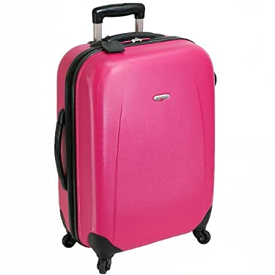 Borderline Extra Large 32'' Hard Sided Four Spinner Wheels Suitcase (Hot Pink)