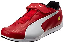 Puma Girls evoSPEED Lo SF 1.3 V Kids Rosso Corsa-White-Gray Viol. Leather Chinese Shoes - 1 UK