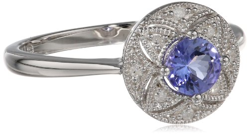 Sterling Silver Tanzanite and Diamond-Accented Ring, Size 7